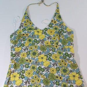Old Navy Halter Top Floral Green Yellow Dress U468